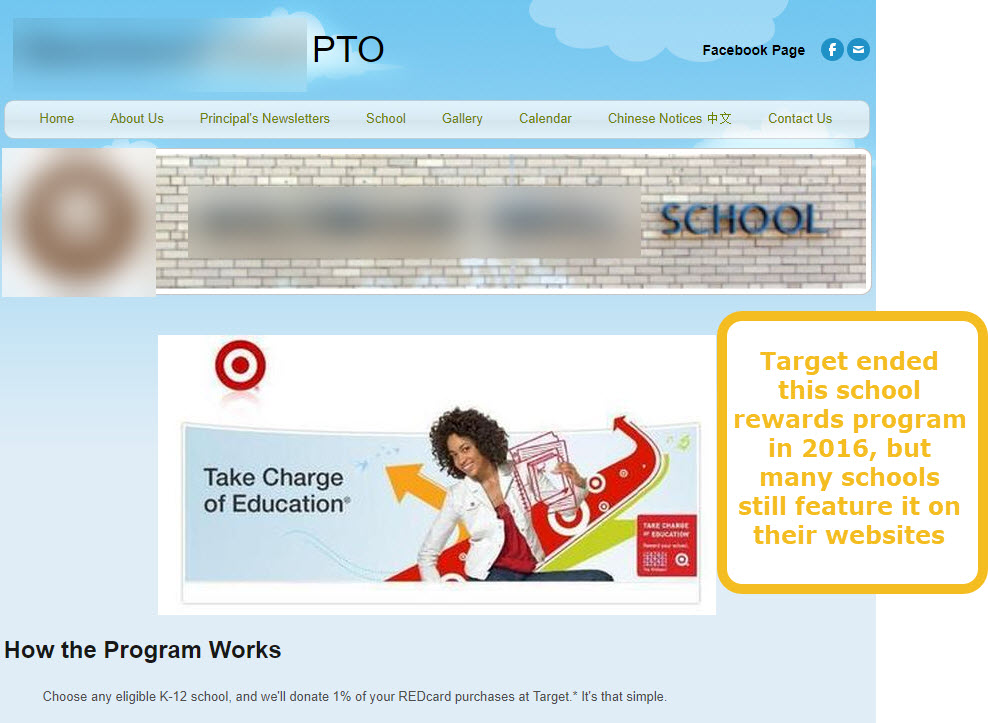 Example of a school that is still showing links to an online fundraiser that has closed.