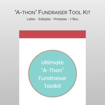 """Ultimate """"A-Thon"""" Fundraiser Toolkit from PTO Answers takes all the guesswork out of planning and carrying out a highly succesful thon school fundraiser. Use for fun runs, walk-a-thons, jog-a-thons or modify for read-a-thons and more."""