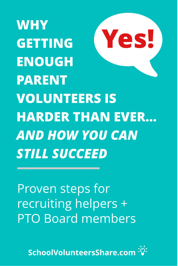 Proven PTO volunteer recruitment ideas: Getting enough parent volunteers, especially for the PTO Board, is a big challenge for PTOs, and it's just getting bigger. Fortunately, there are proven PTO volunteer recruitment ideas that will get more parent volunteers, even when it comes to Board positions. #PTO #SchoolVolunteersShare #volunteerrecruitment