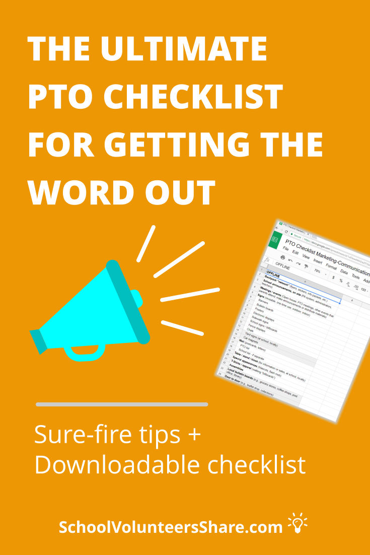 Comprehensive, cover-all-your bases PTO marketing and communications downloadable checklist. By getting the word out to families using all your communication channels, you'll get better results from your fundraisers and more participation in events and more volunteers. #pto #SchoolVolunteersShare