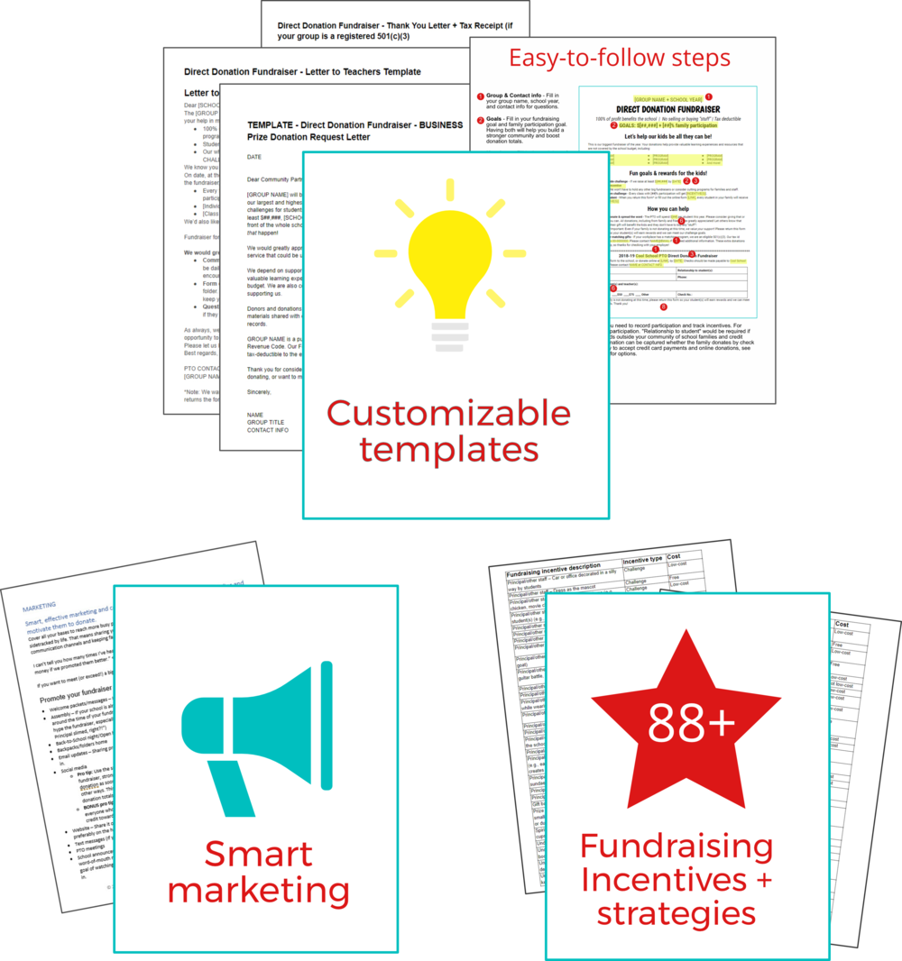 Direct donation PTO fundraiser kit templates - Donation fundraiser letter samples, thank you letters, fully editable.