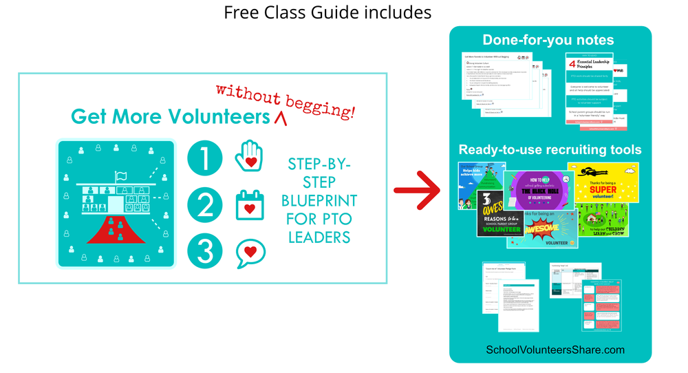 FREE video training for PTO volunteers: Get More Volunteers Without Begging: step-by-step blueprint for PTO leaders who are treid fo getting stuck doing EVERYTHING