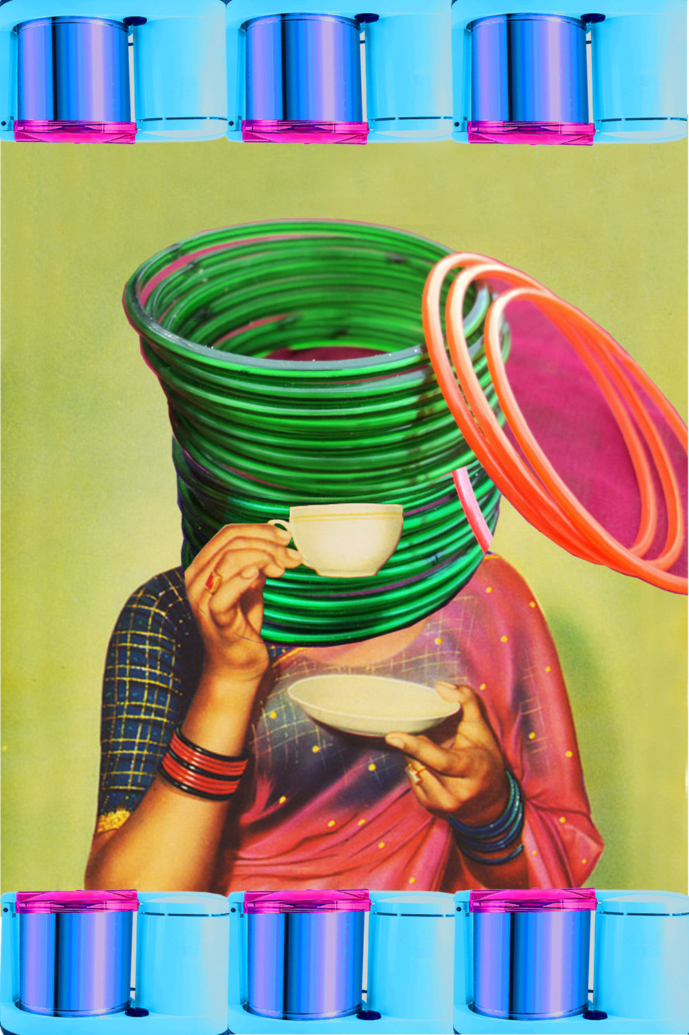 Tea Time  (2017)                                                                                                                                                                                                                   Digital collage