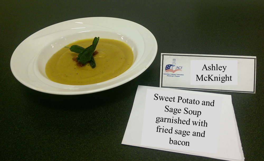 Ashley McKnight's Sweet Potato and Sage Soup garnished with fried sage and bacon