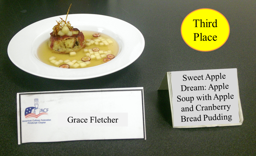 Grace Fletcher's Sweet Apple Dream: Apple Soup with Apple and Cranberry Bread Pudding - 3rd Place (tie)