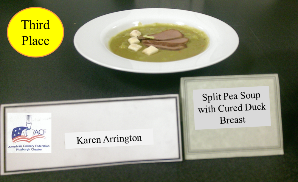 Karen Arrington's Split Pea Soup with Cured Duck Breast - 3rd Place (tie)