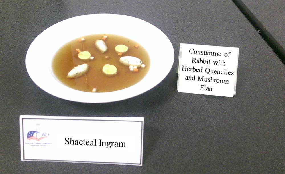 Shacteal Ingram's Consumme of Rabbit with Herbed Quenelles and Mushroom Flan