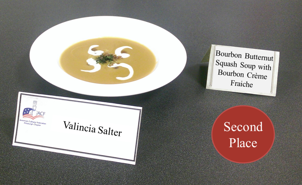 Valicia Salter's Bourbon Butternut Squash Soup with Bourbon Creme Fraiche - 2nd Place