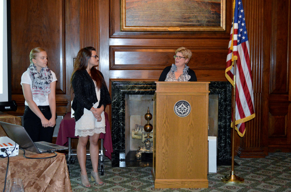 4 Chef Cindy Tuite introducing the winners of the William Foust Education Scholarship, Theresa Medved and Alyssa Mary Rose.JPG