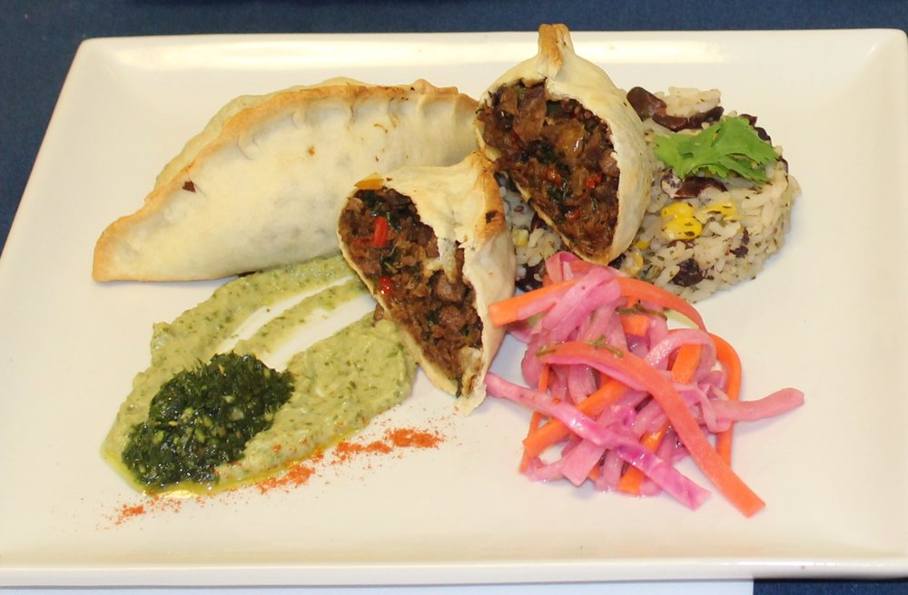 Second Place: Andrea Hill's Empanadas with Chayote Slaw and Black Beans and Rice