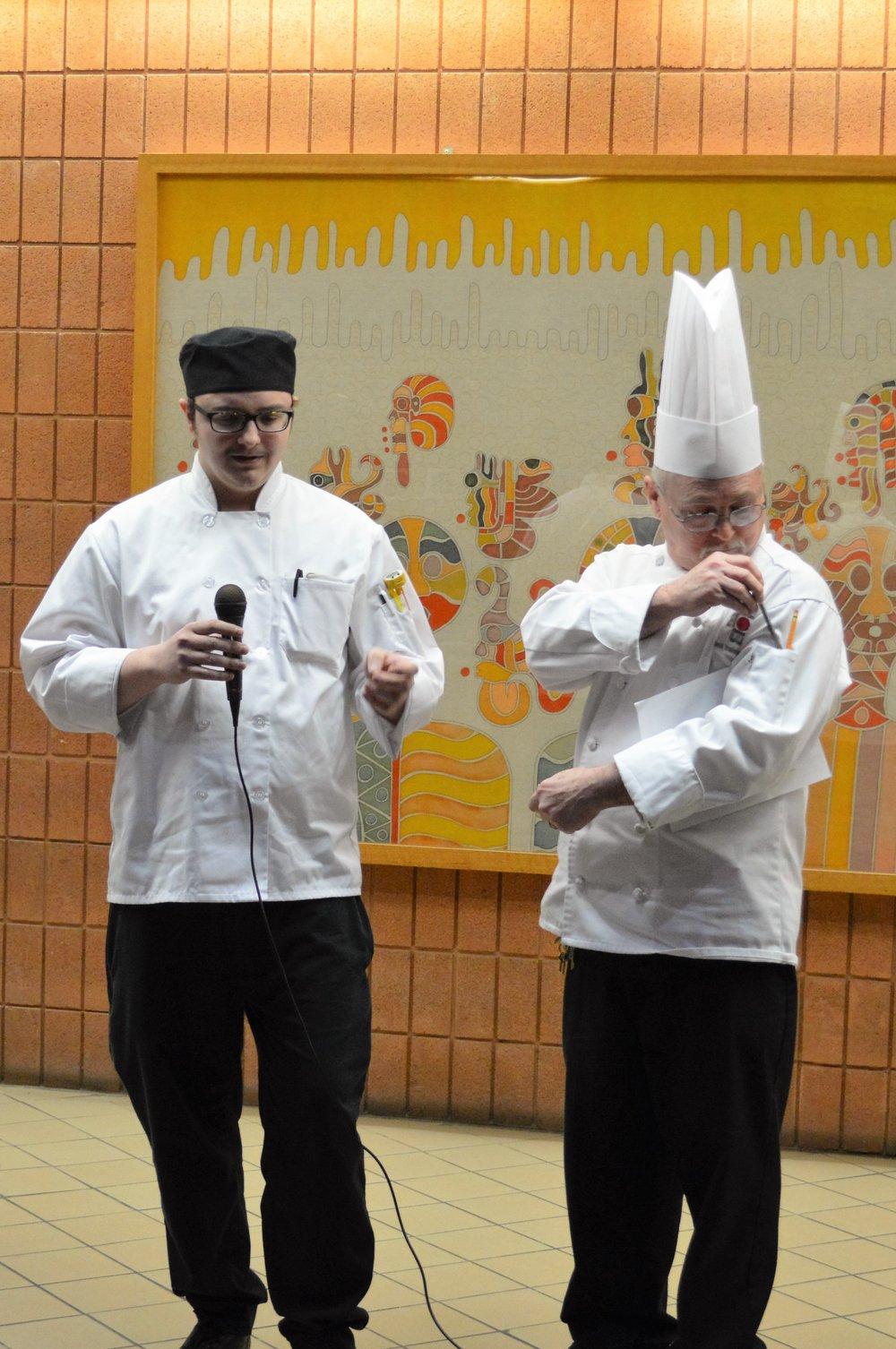Third place winner Austin Dorn with Chef Chuck Baux.