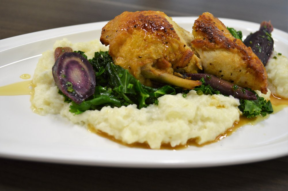Jared Lordon - Seared Chicken Breast with sauteed kale, sauce soubise, purple carrot, rosemary gastrique, and fine herbs - winner.JPG