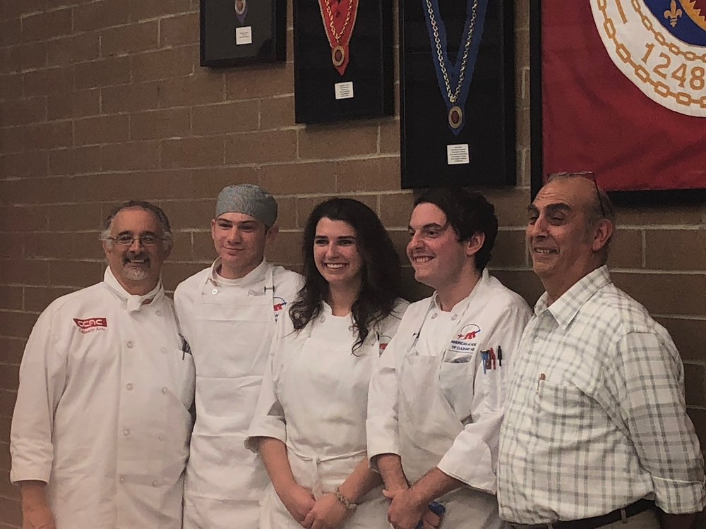 (Left to Right) Chef Art Inzinga, Conner Capazoli (First Place), Victoria Rucci (Second Place), Chandler Flak (Third Place), and Chef Rikk Panzera.