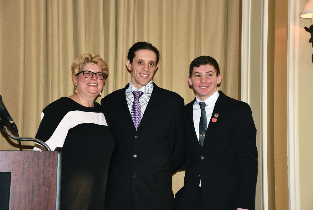 Cindy Tuite with Foust Scholarship winners Richard Grabowski and Conner Capozoli 2 (Photo Credit Valerie Njie).jpeg