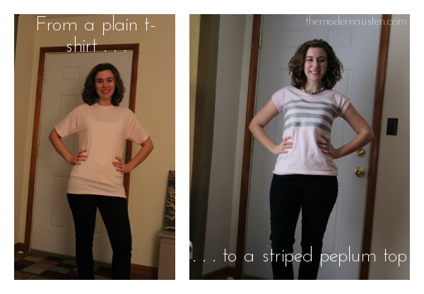 Before and After T-Shirt to Striped Peplum2