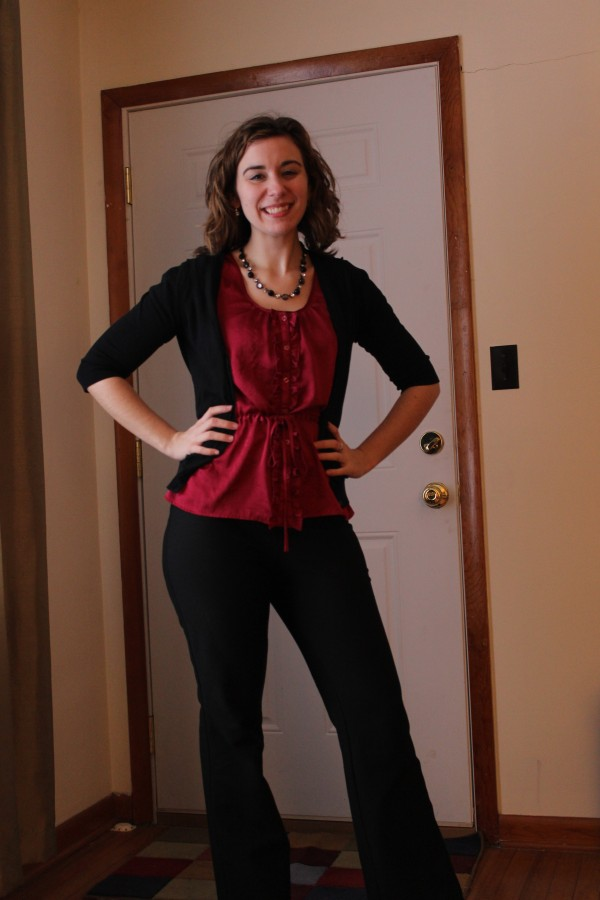 Magenta Silk Blouse and Black Pants and Cardigan 1