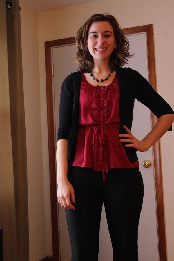Magenta Silk Blouse and Black Pants and Cardigan 2