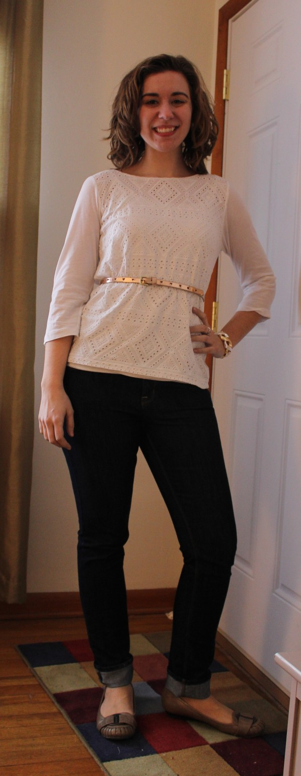 White J. Crew Blouse and Skinny Jeans 1