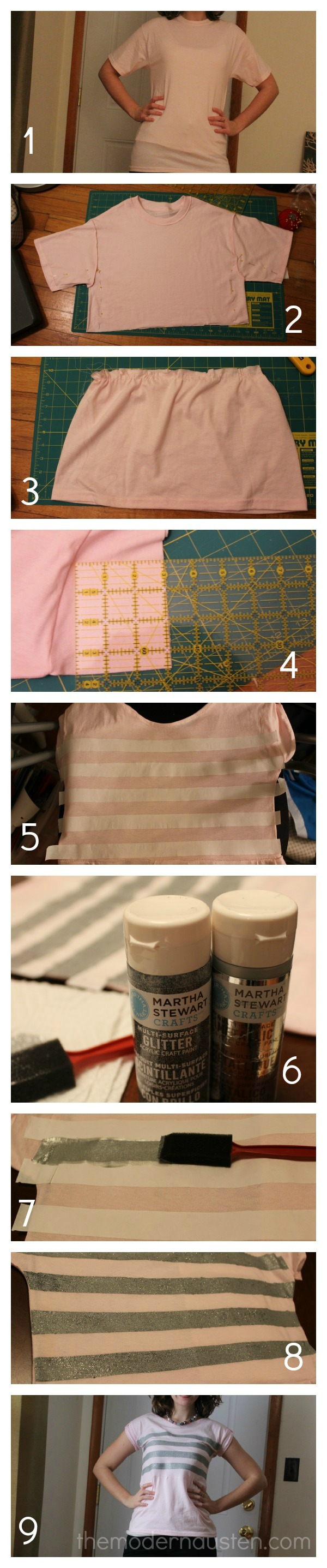 Steps to Refashioning a T-Shirt into a Striped Peplum Top