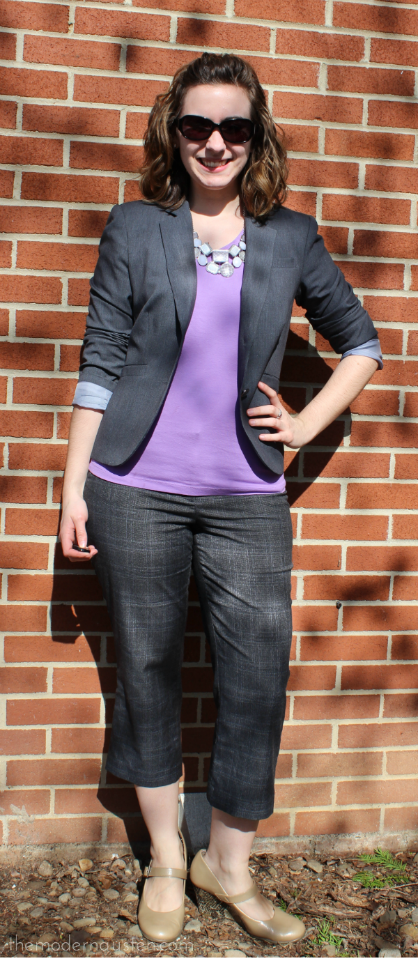 African Violet Tee_Gray Blazer and Cropped Pants1