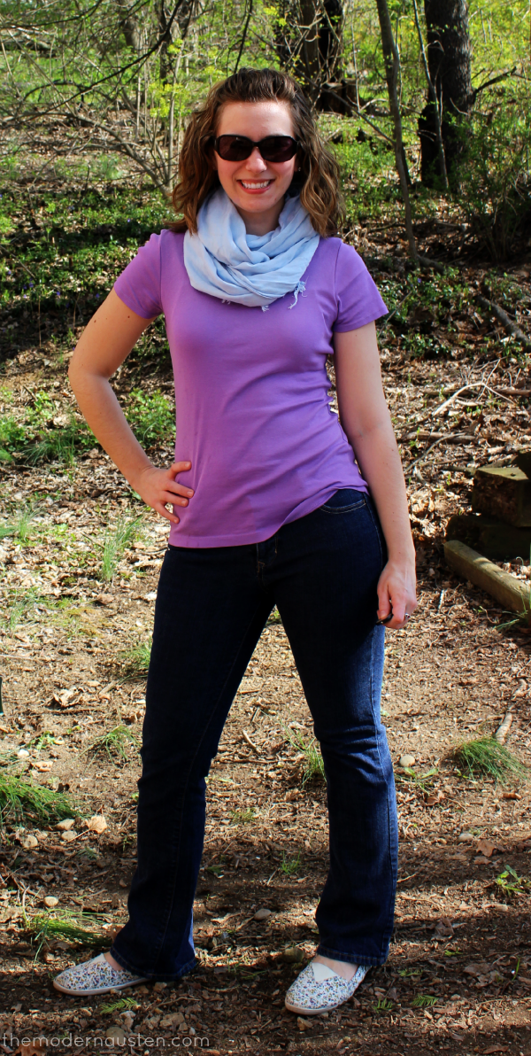 African Violet tee_Jeans and Scarf1