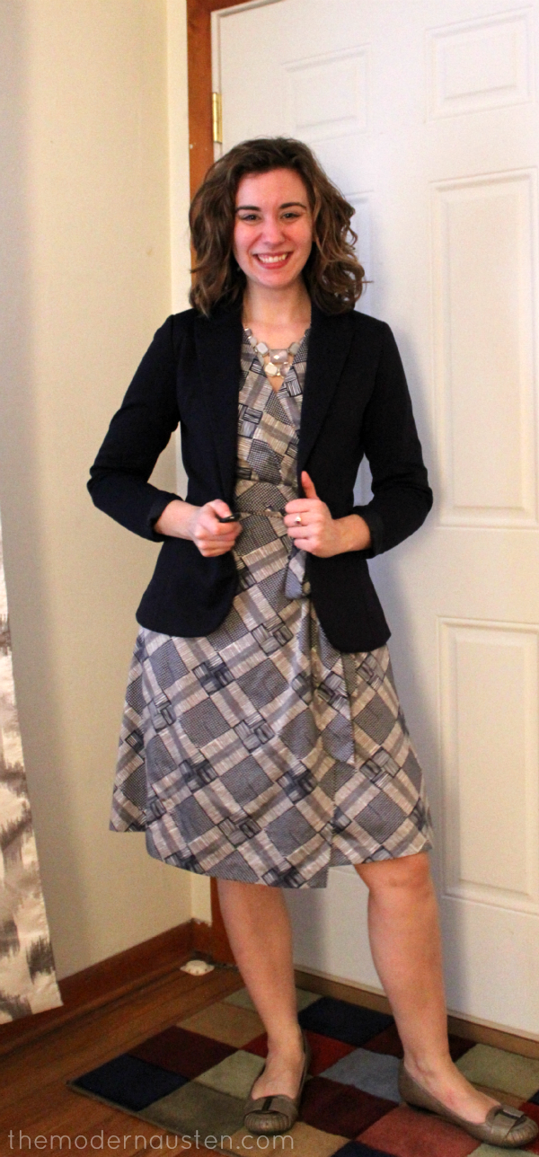 Banana Republic Wrap Dress and Navy Blazer