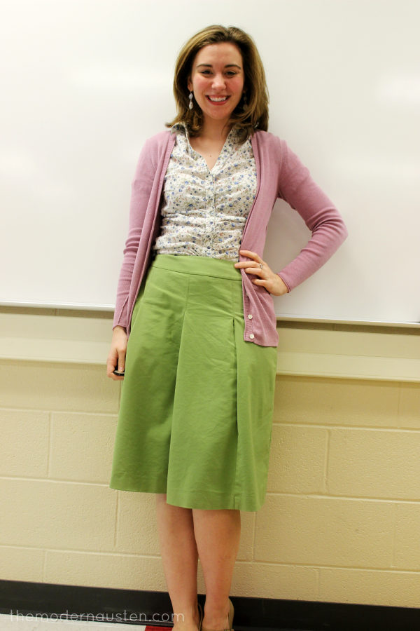 Green Skirt Flower Top Pink Cardigan1
