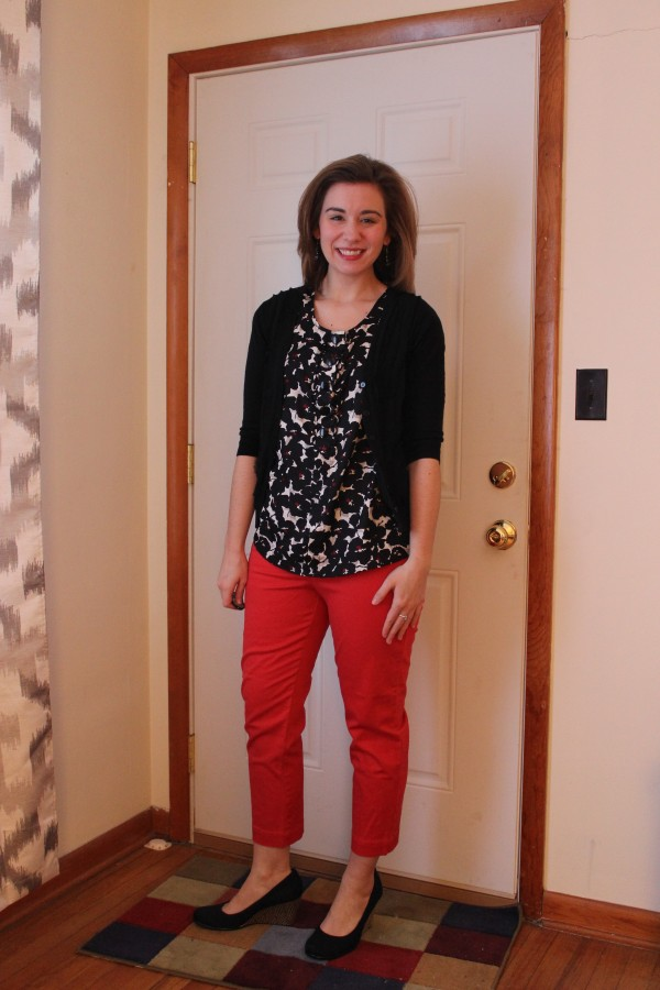 Poppy Red Cropped Pants Black and White Top Black Wedges 1