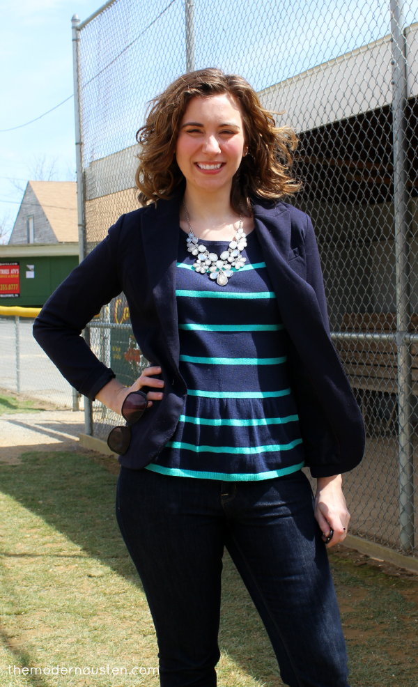 LOFT navy peplum and blazer 2