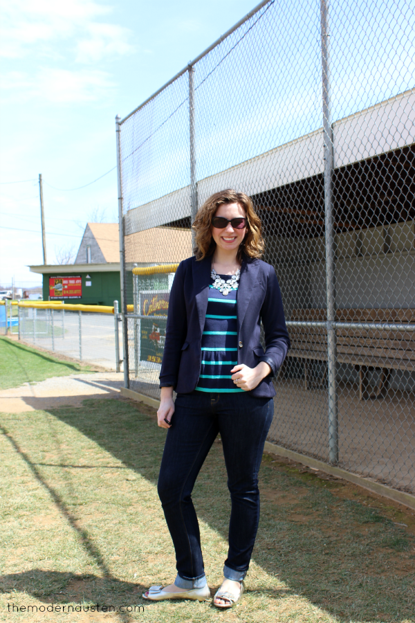 Outfits from 2013: LOFT navy peplum blazer and skinny jeans