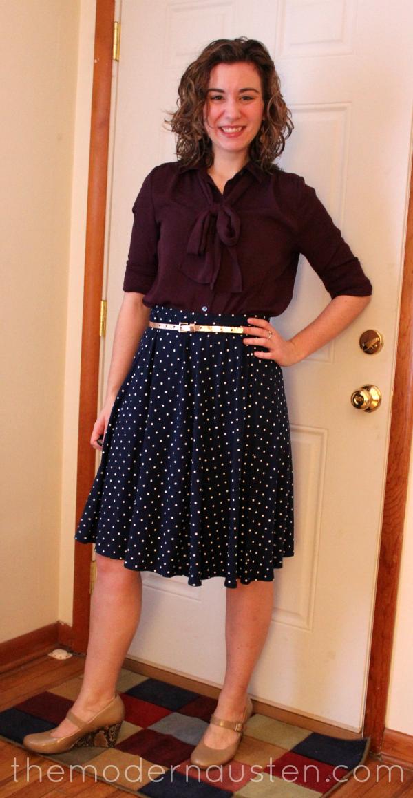Polka Dot Skirt Bow Tie Blouse 1