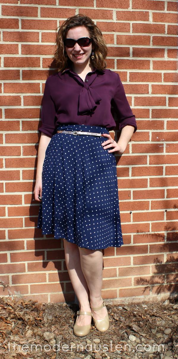 Polka Dot Skirt Bow Tie Blouse