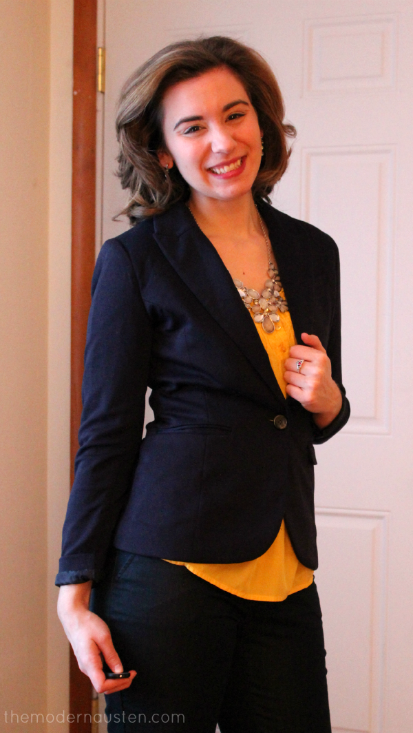 Yellow Blouse Navy Blazer Cropped Dress Pants Metallic Accents2