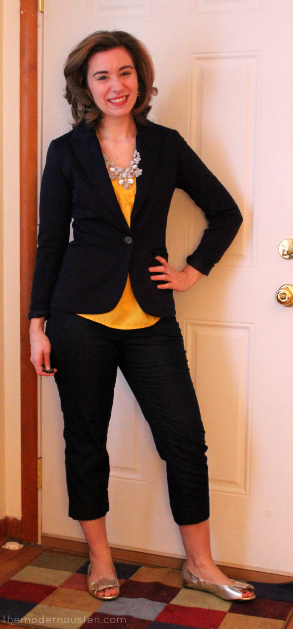 Yellow Blouse Navy Blazer Cropped Dress Pants Metallic Accents1