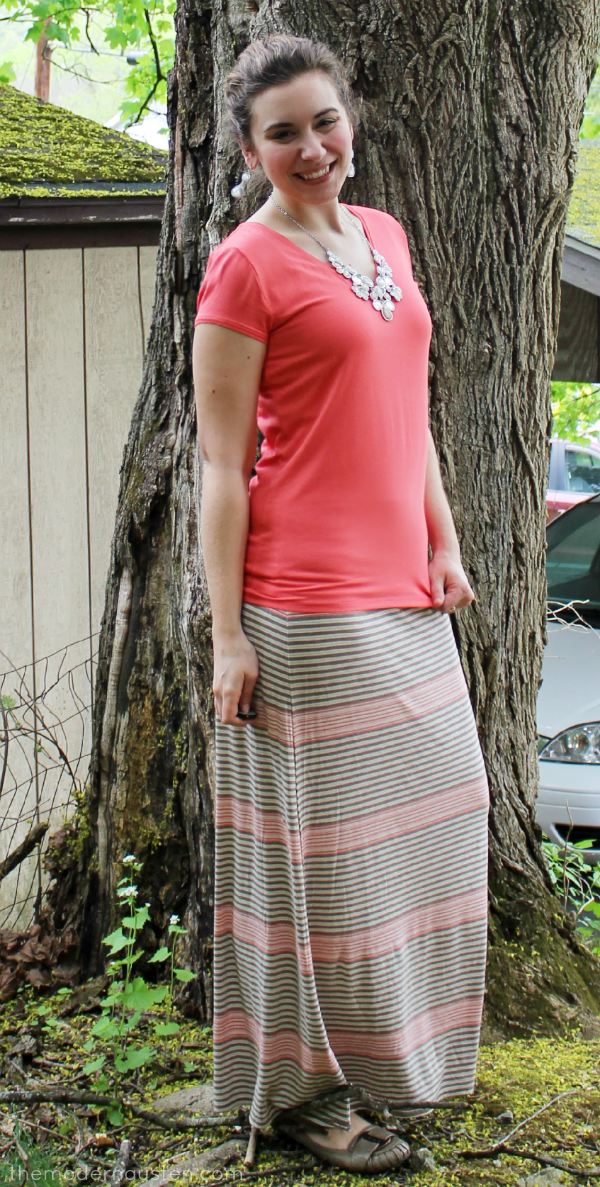 Coral Tee Striped Maxi Skirt 1