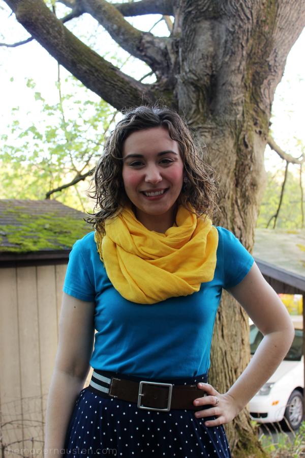 Polka Dot Navy Skirt, Blue Tee, Yellow Scarf 2