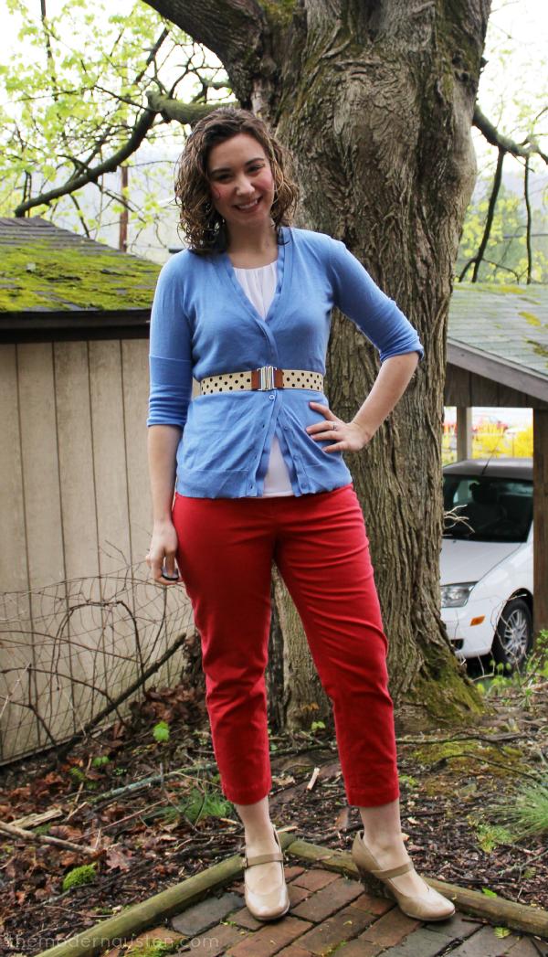 Poppy Red Cropped Pants Light Blue Cardigan Polka Dot Belt 1