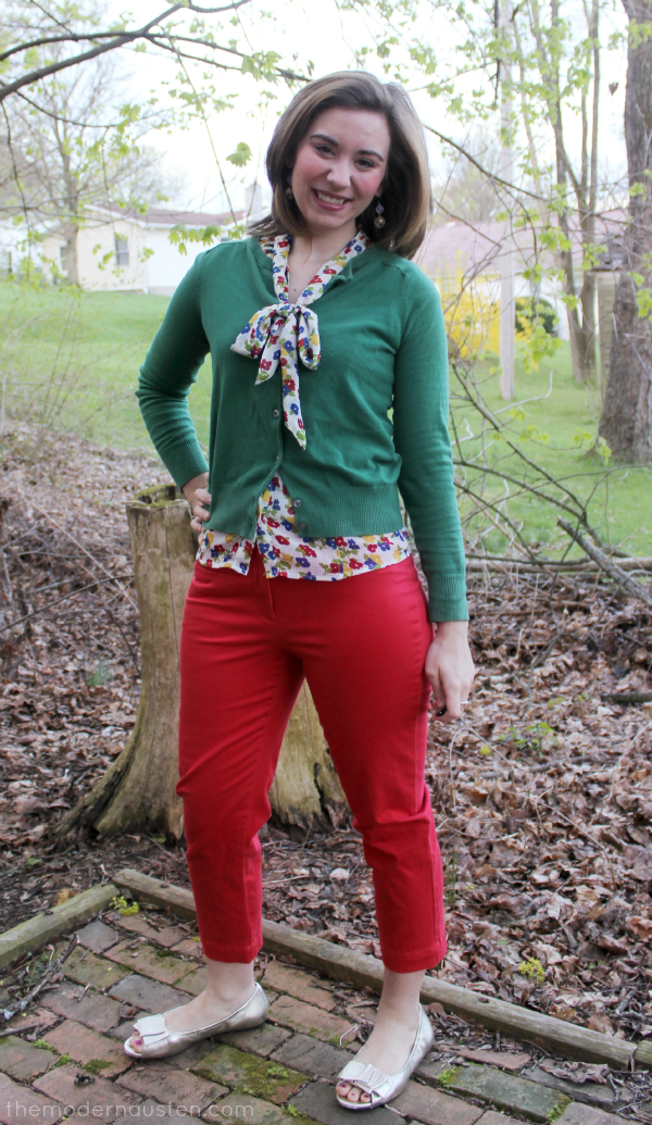 Poppy Red Cropped Pants Bow Flower Blouse Green Cardigan 1