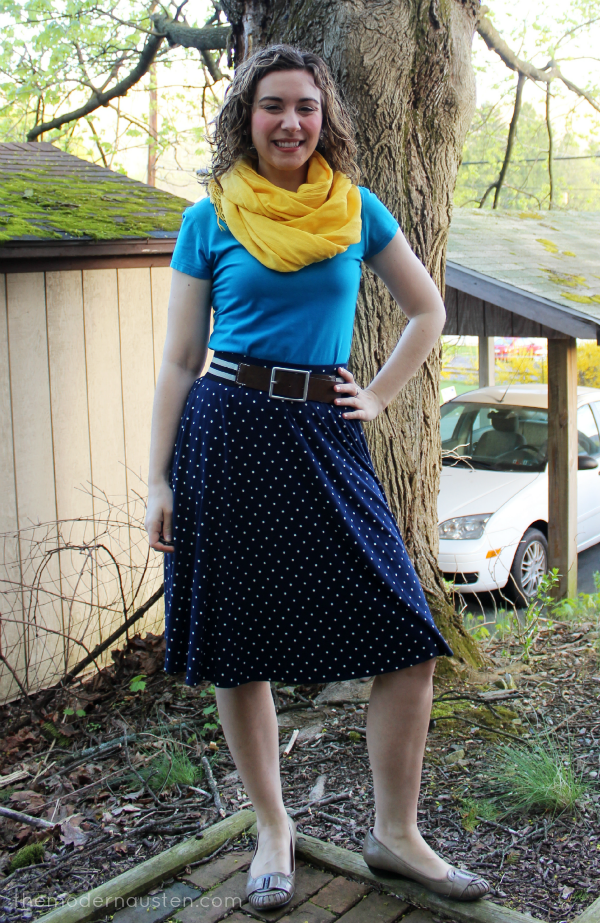 Polka Dot Navy Skirt, Bright Blue tee, Yellow Scarf 1