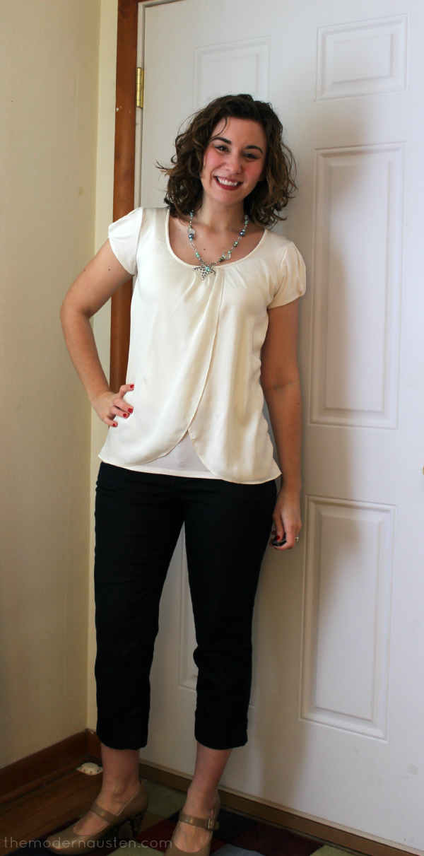 White Silk Top and Blue Cropped Pants 1