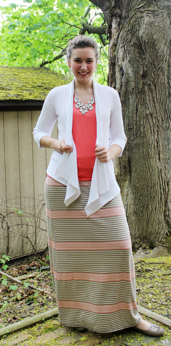 White cardigan Coral Tee Striped Maxi Skirt