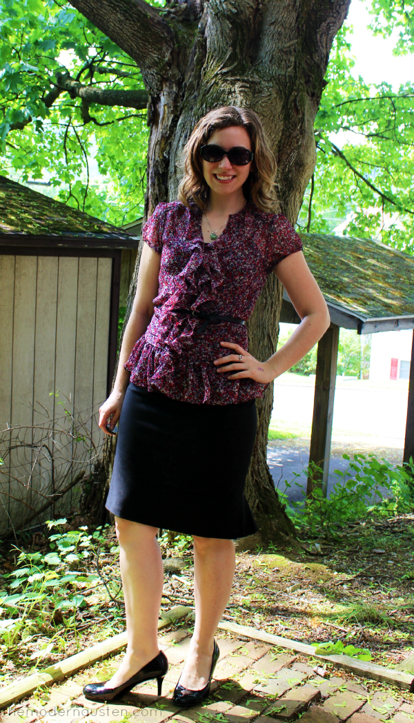 Express Ruffled Peplum Black Pencil Skirt 1