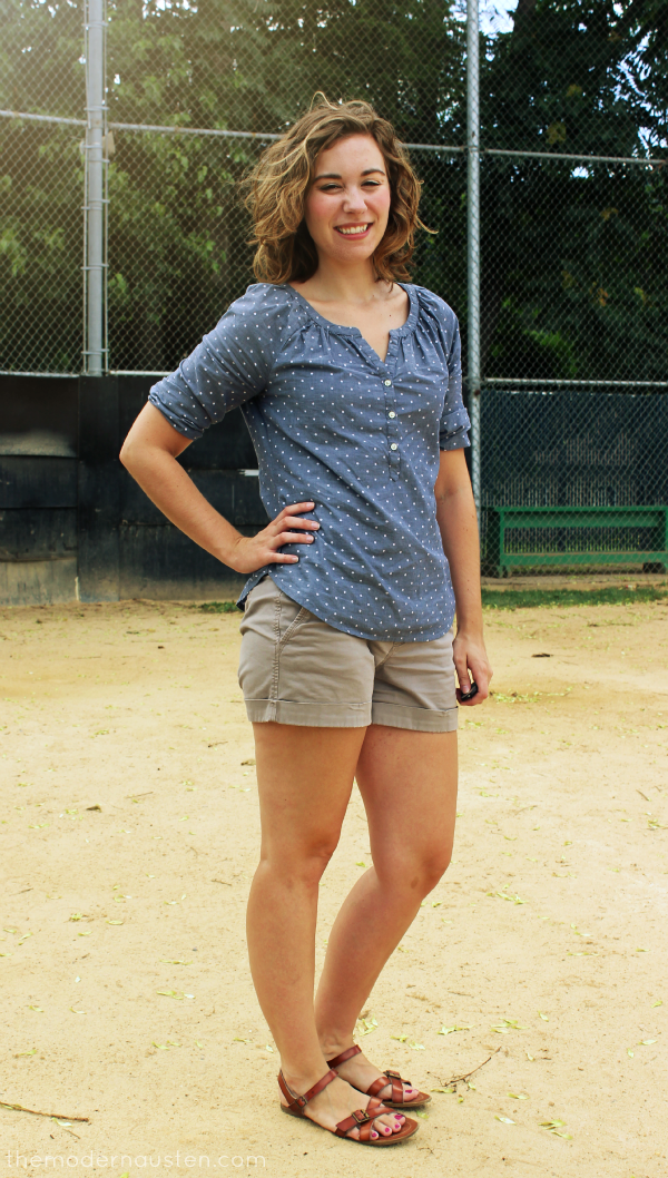 Polka Dot Chambray Khaki Shorts 1