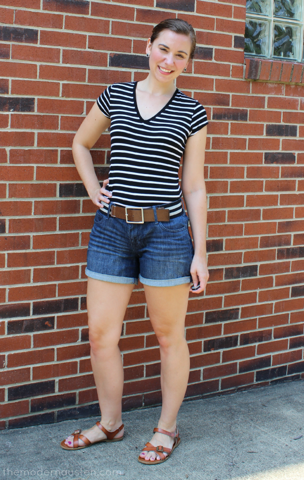 Striped Tee Tucked Into Jean Shorts 1