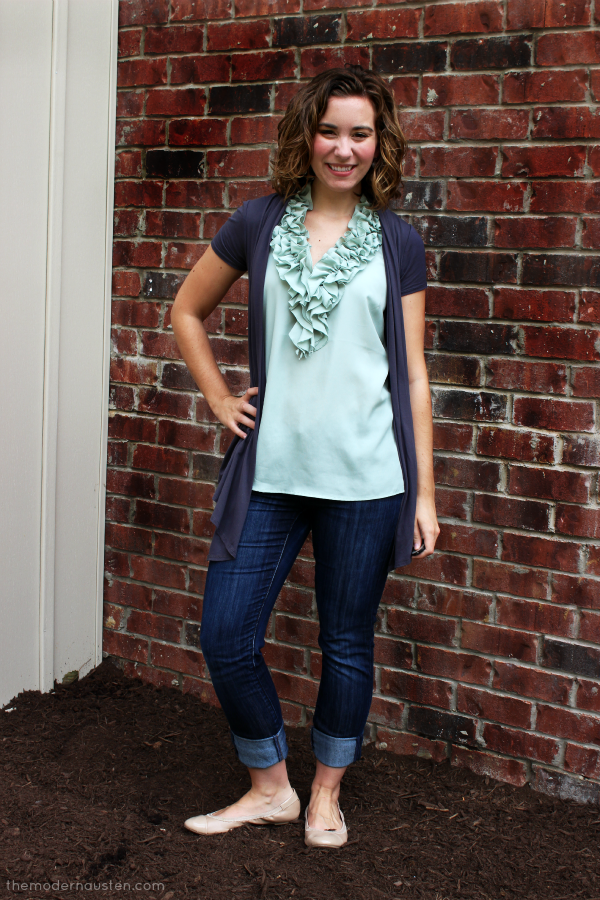 Gray and Mint Ruffles and Jeans 1