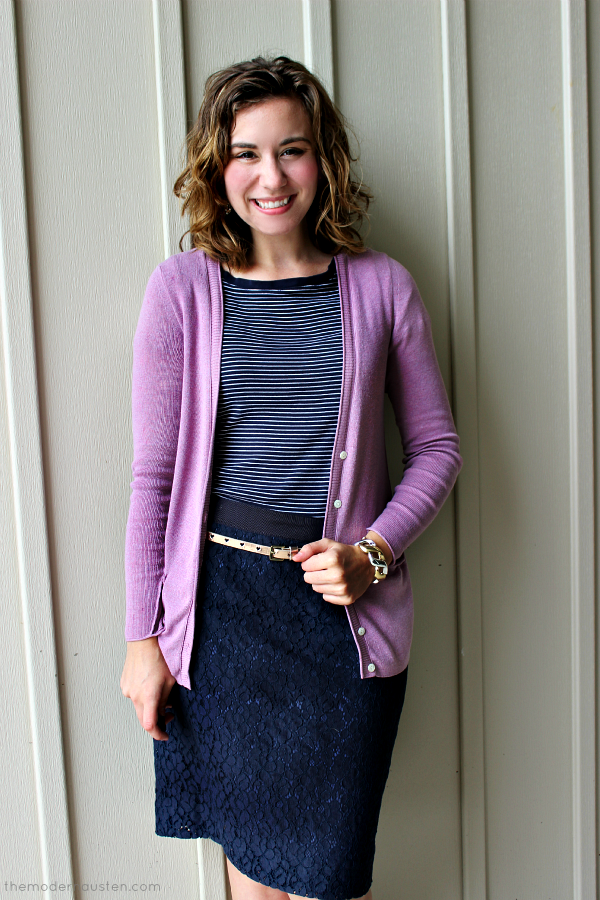 Navy Lace Pencil Skirt Striped Tee Pink Cardigan 1