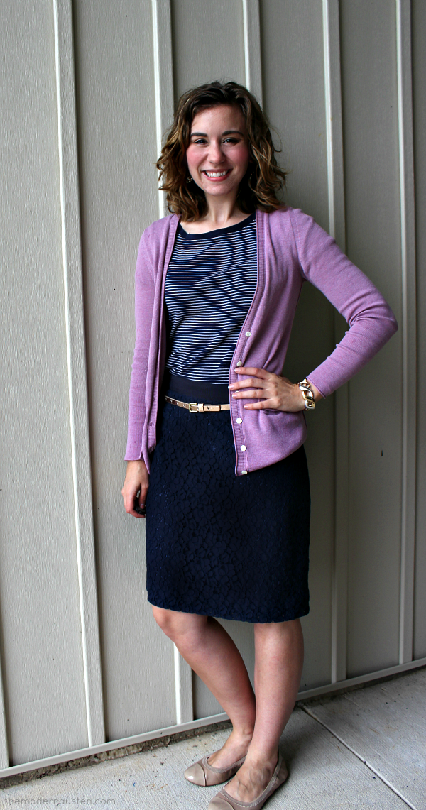 Navy Lace Pencil Skirt Striped Tee Pink Cardigan 2