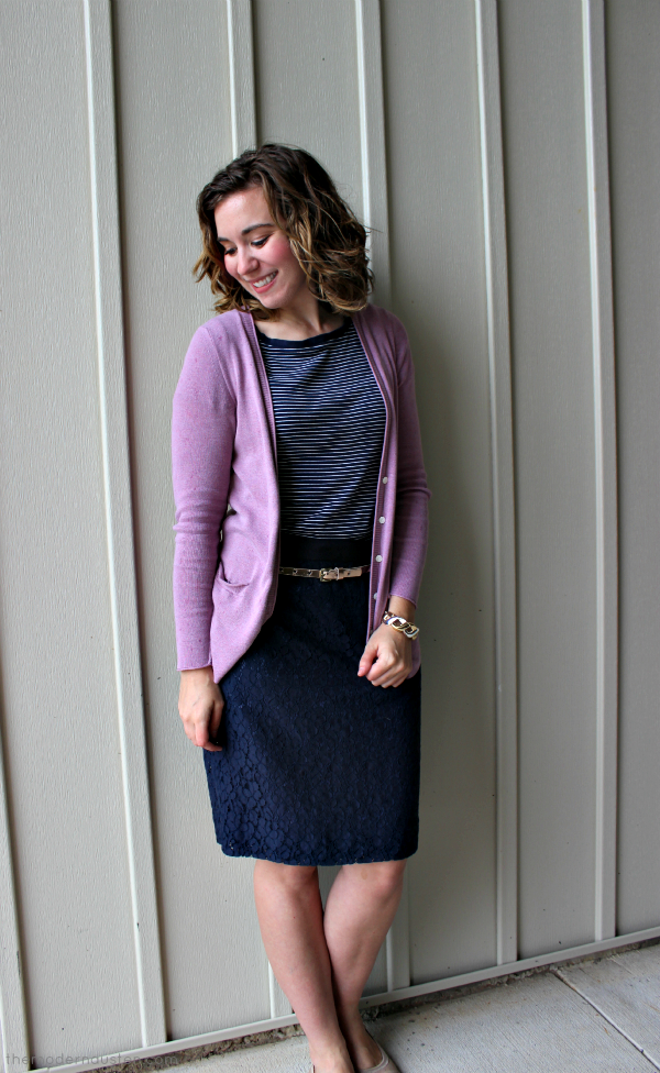 Navy Lace Pencil Skirt Striped Tee Pink Cardigan 3