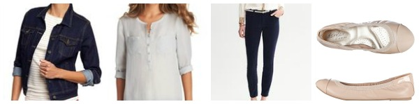 Shop This Look Denim Jacket Henley Tunic Navy Cords Nude Flats