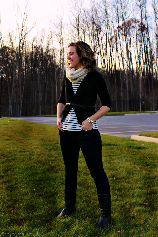 Black Stripes Beige Scarf 2